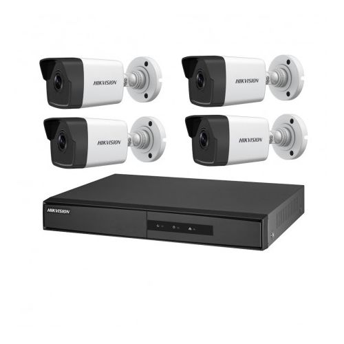 Kit 4 camere IP PoE de 2 MP Hikvision. Include 4 camere IP Bullet PoE, NVR cu 4 iesiri PoE, HDD 1TB