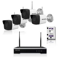 Kit 4 camere IP Wi-Fi de 2 MP Hikvision. Include 4 camere IP Bullet Wi-Fi, NVR Wi-Fi, HDD 1TB
