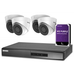 Kit 4 camere IP PoE de 2 MP Hikvision. Include 4 camere IP Dome PoE, NVR cu 4 iesiri PoE, HDD 1TB
